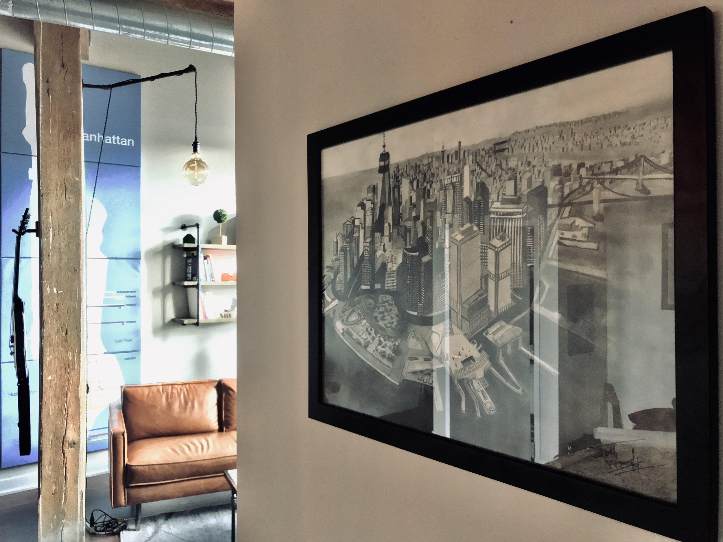 Joel's framed pic of Manhattan that he drew