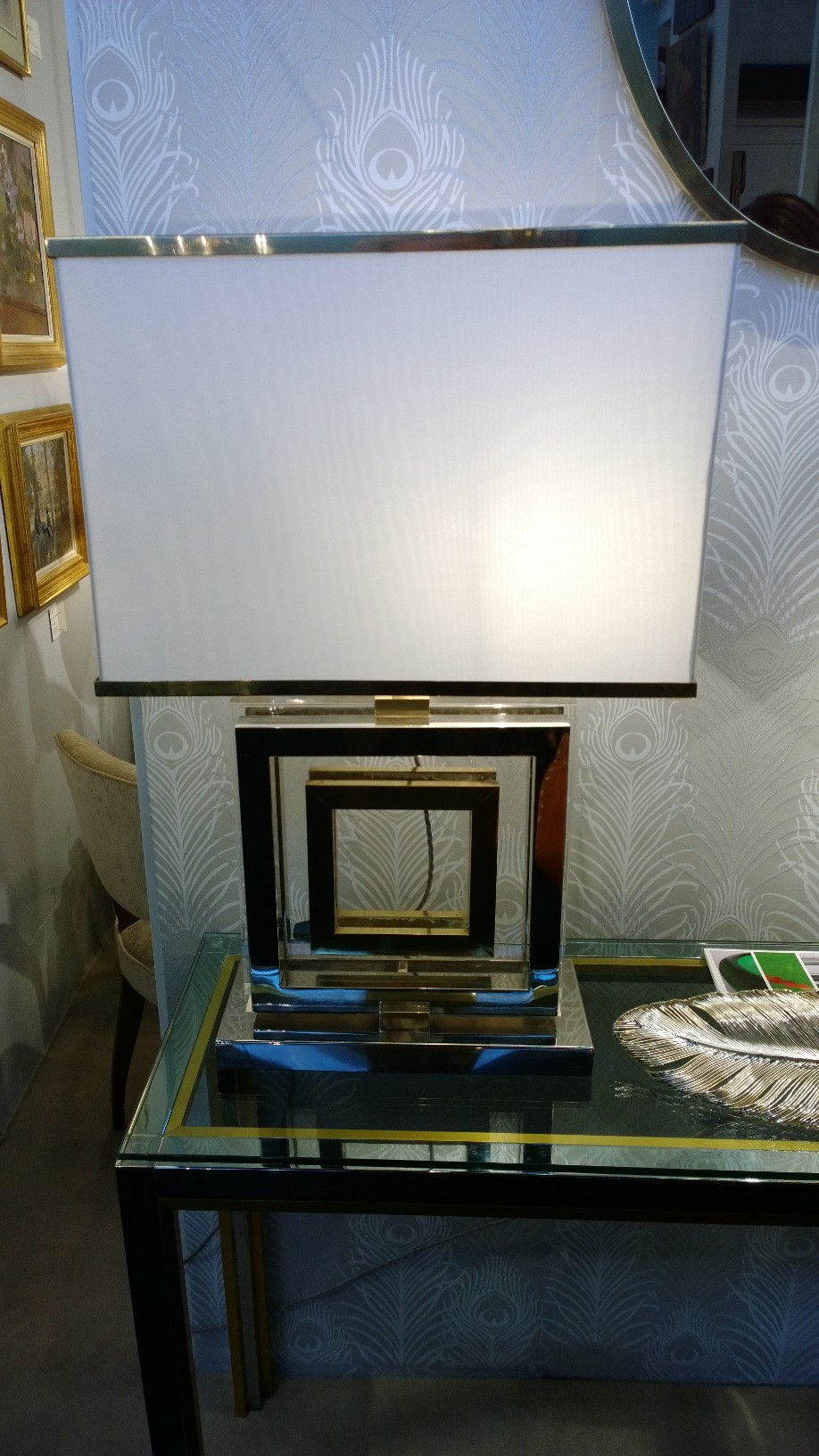 Italian chrome and brass lamps