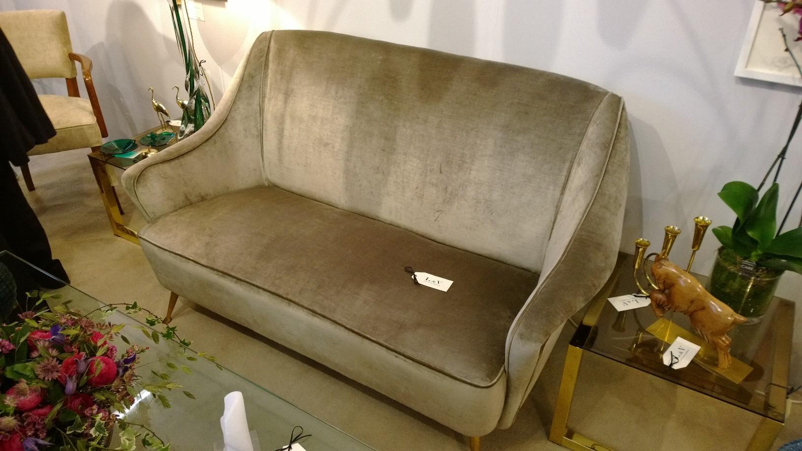 Italian 1950s sofa with brass legs, upholstered in Designers Guild Glenville velvet