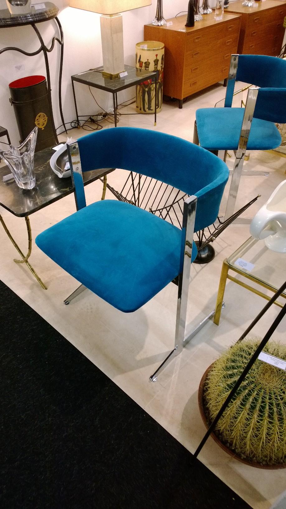 Italian 1970s chrome and blue velvet chairs