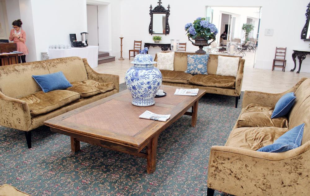 crushed velvet sofa seating area