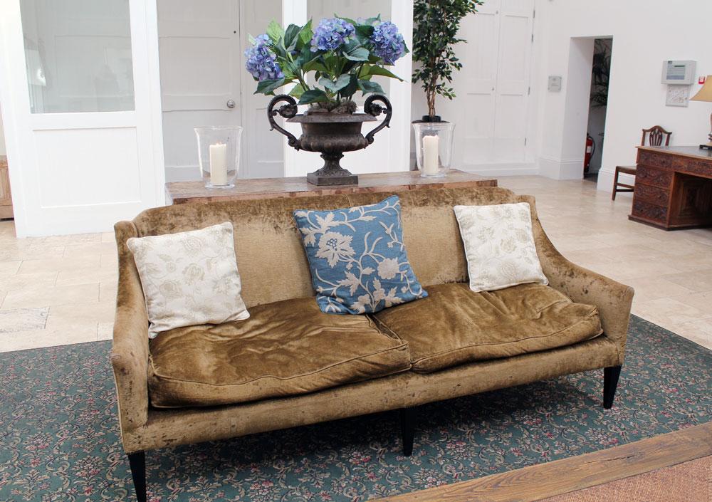 crushed velvet gold sofa