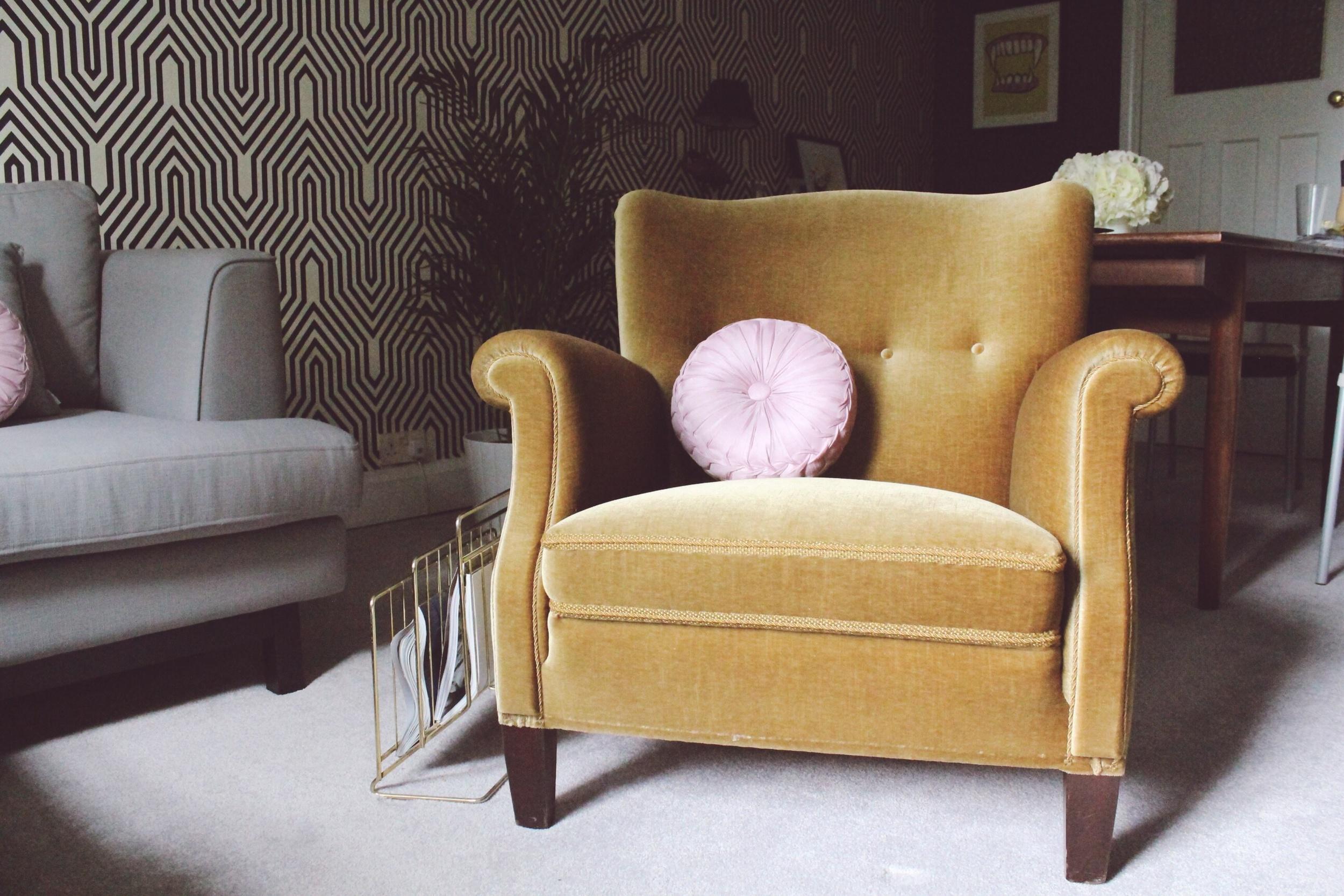 vintage 50s armchair green velvet