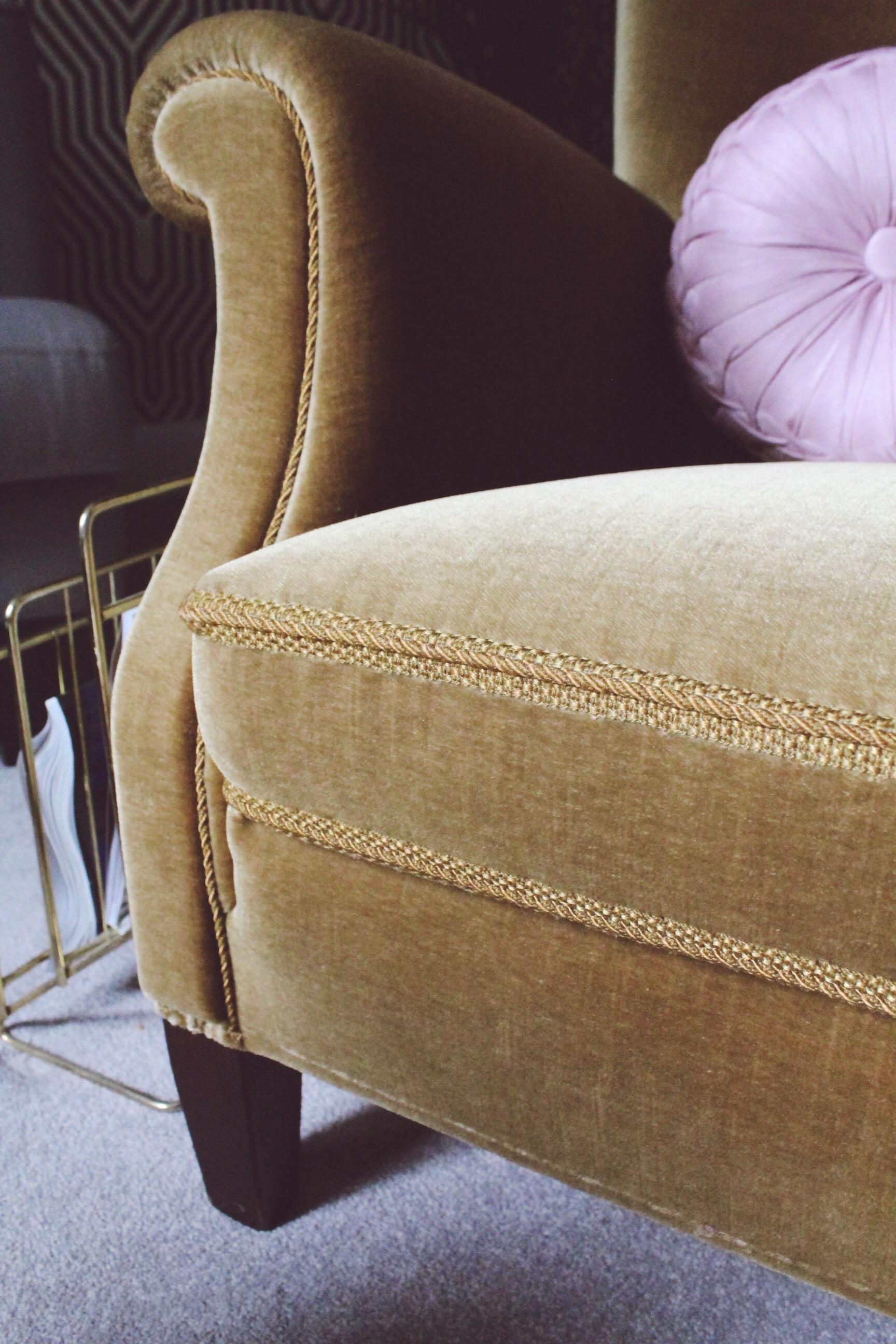 green vintage velvet armchair 60s