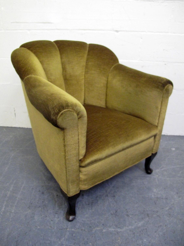 art deco shell armchair green velvet