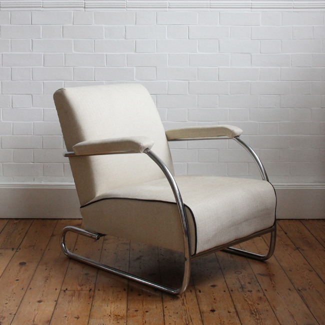 1930s chrome armchair reupholstered