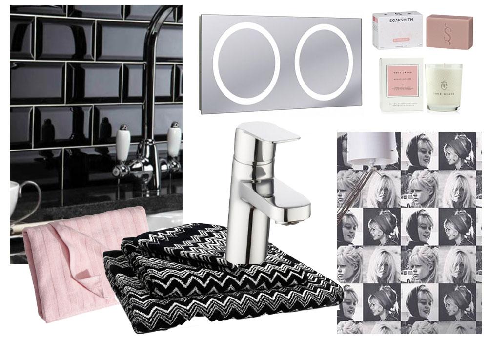 black and pink bathroom