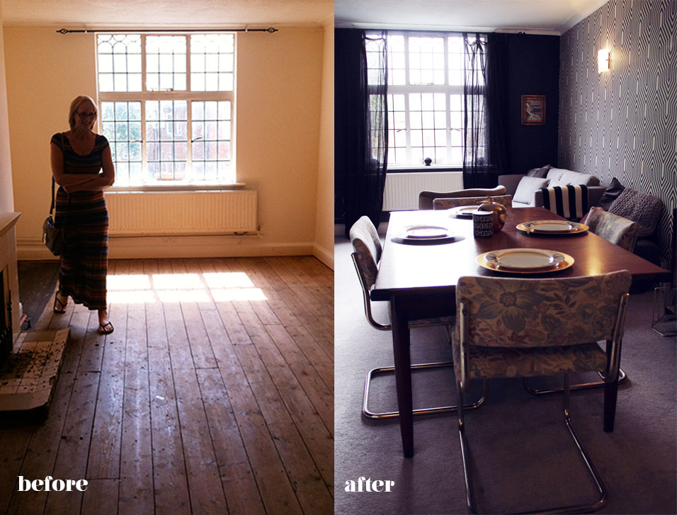 before after living room interior makeover