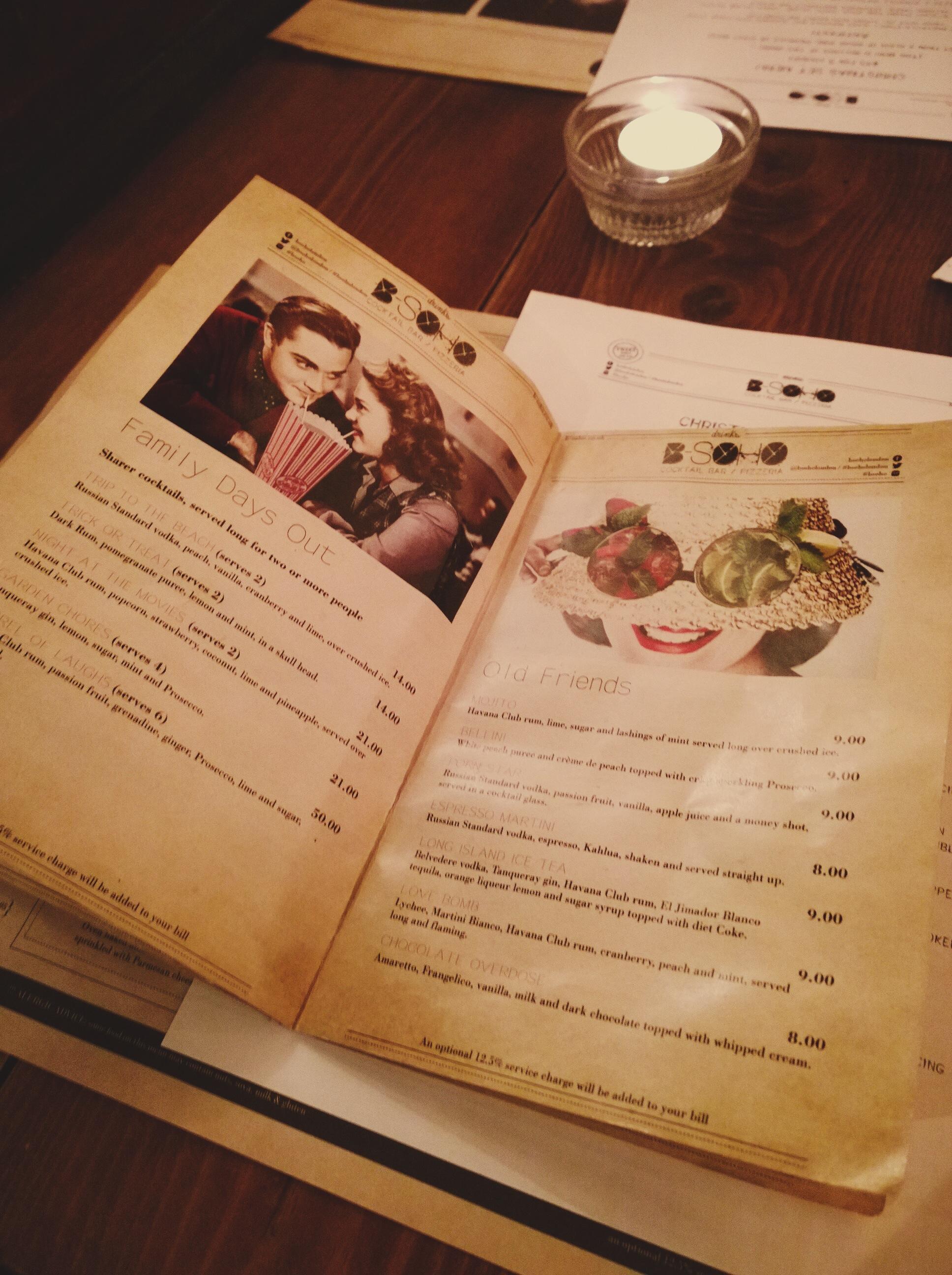 Bsoho cocktail menu
