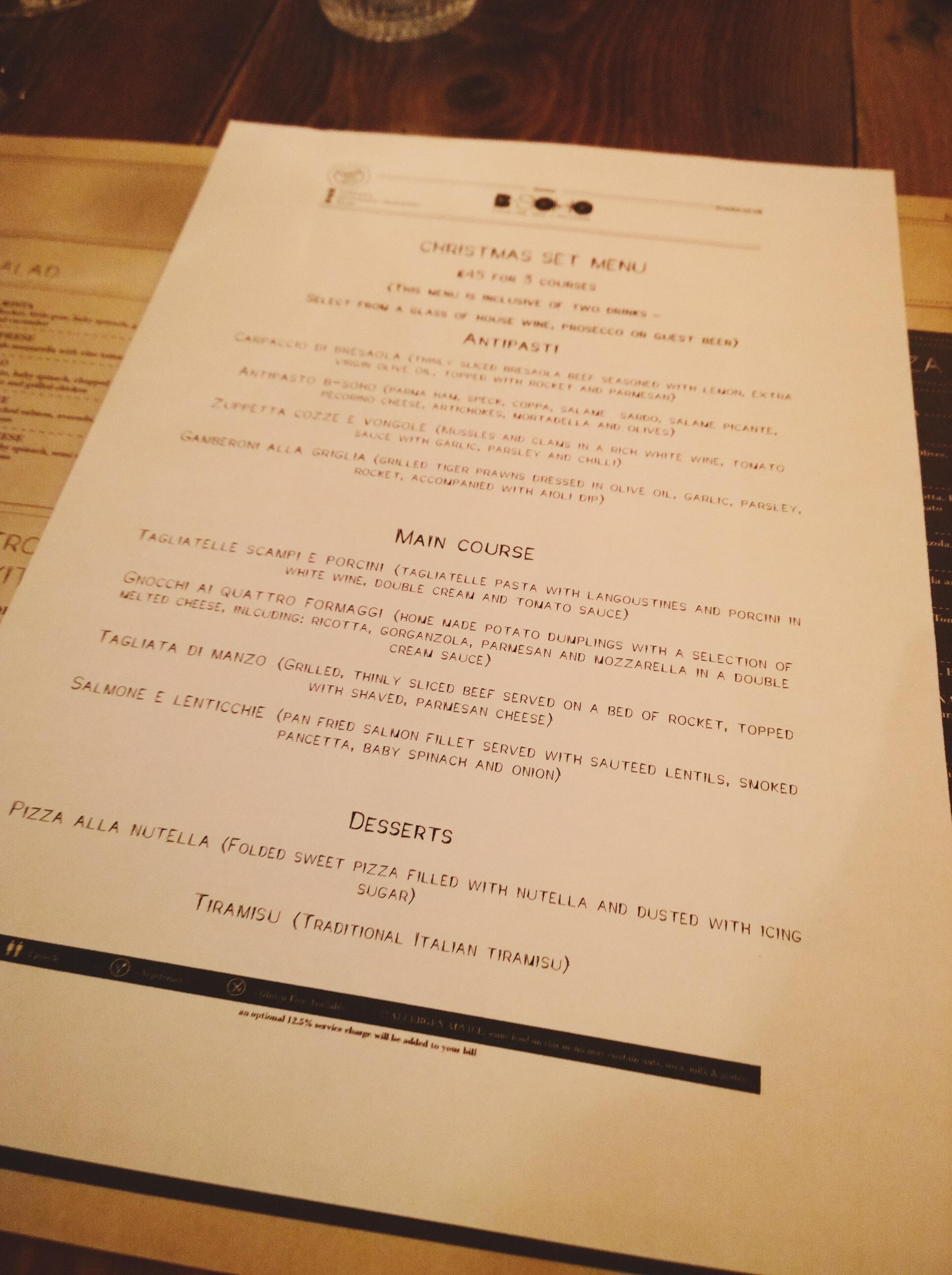 Bsoho christmas set menu