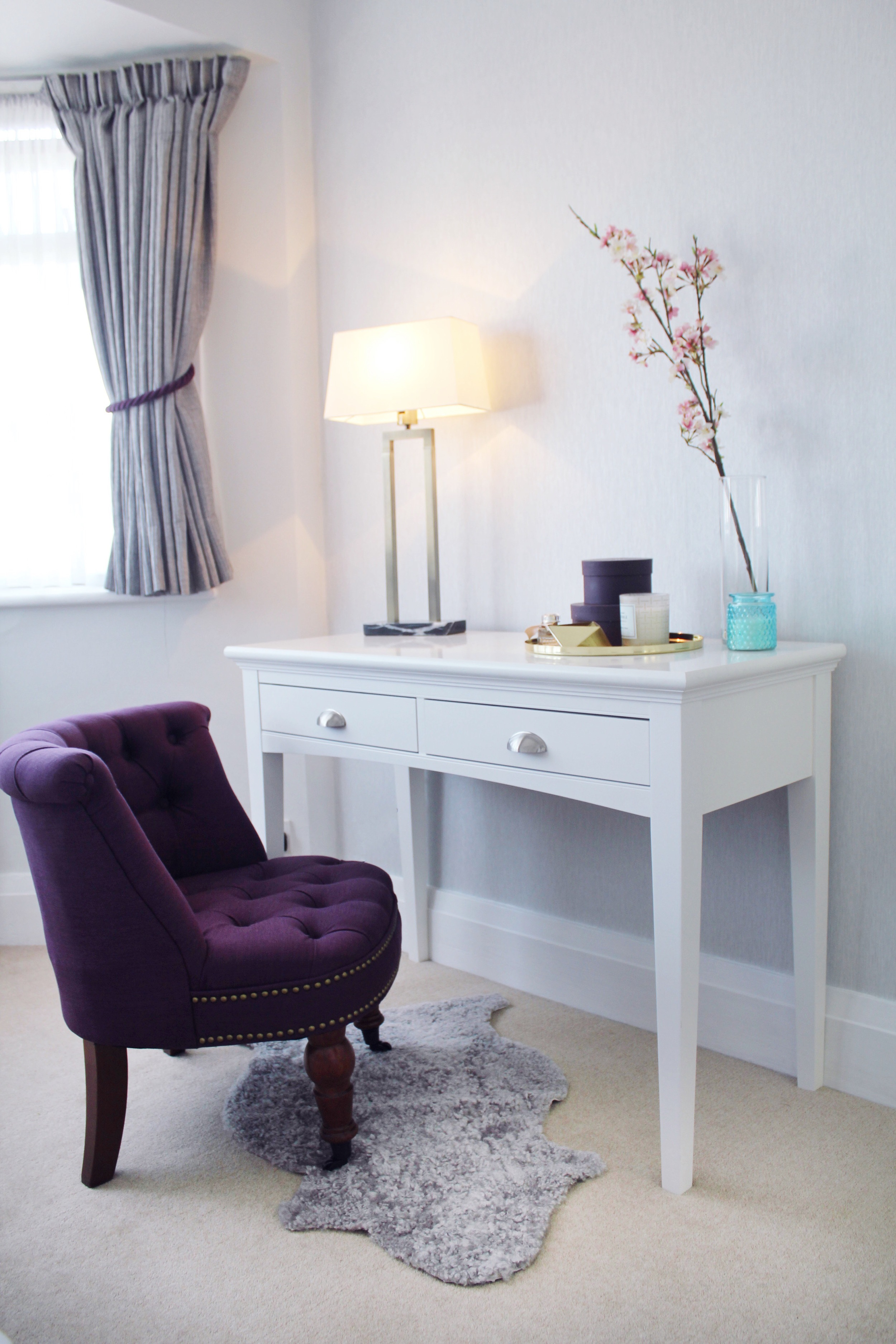 purple and grey bedroom by sarah akwisombe