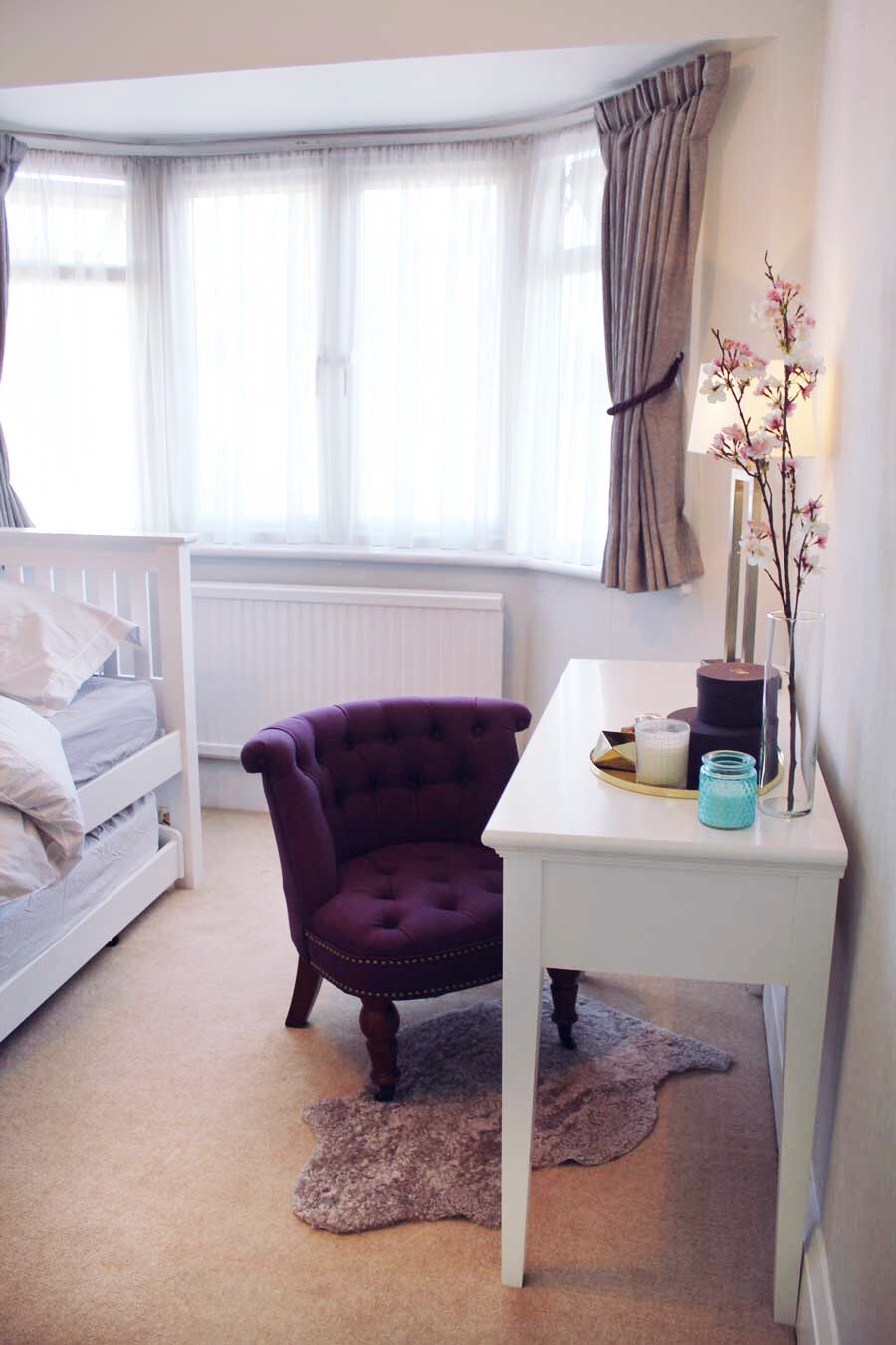 Grey and purple bedroom makeover