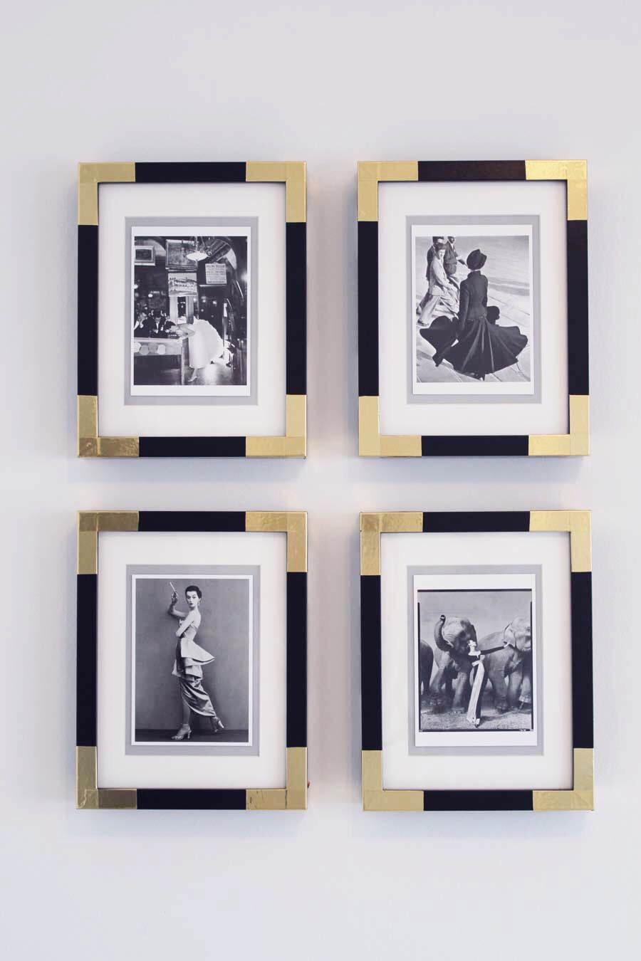 brass cornered frames DIY