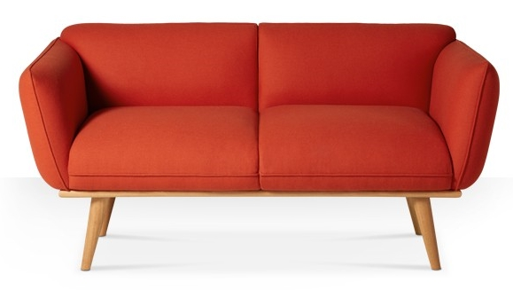 orange red sofa