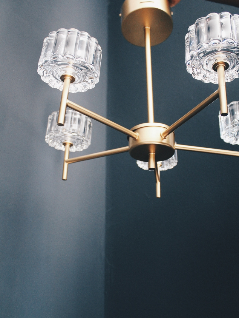 brass glass chandelier