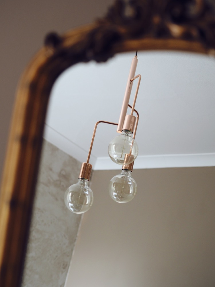 copper pendant chandelier heals junction