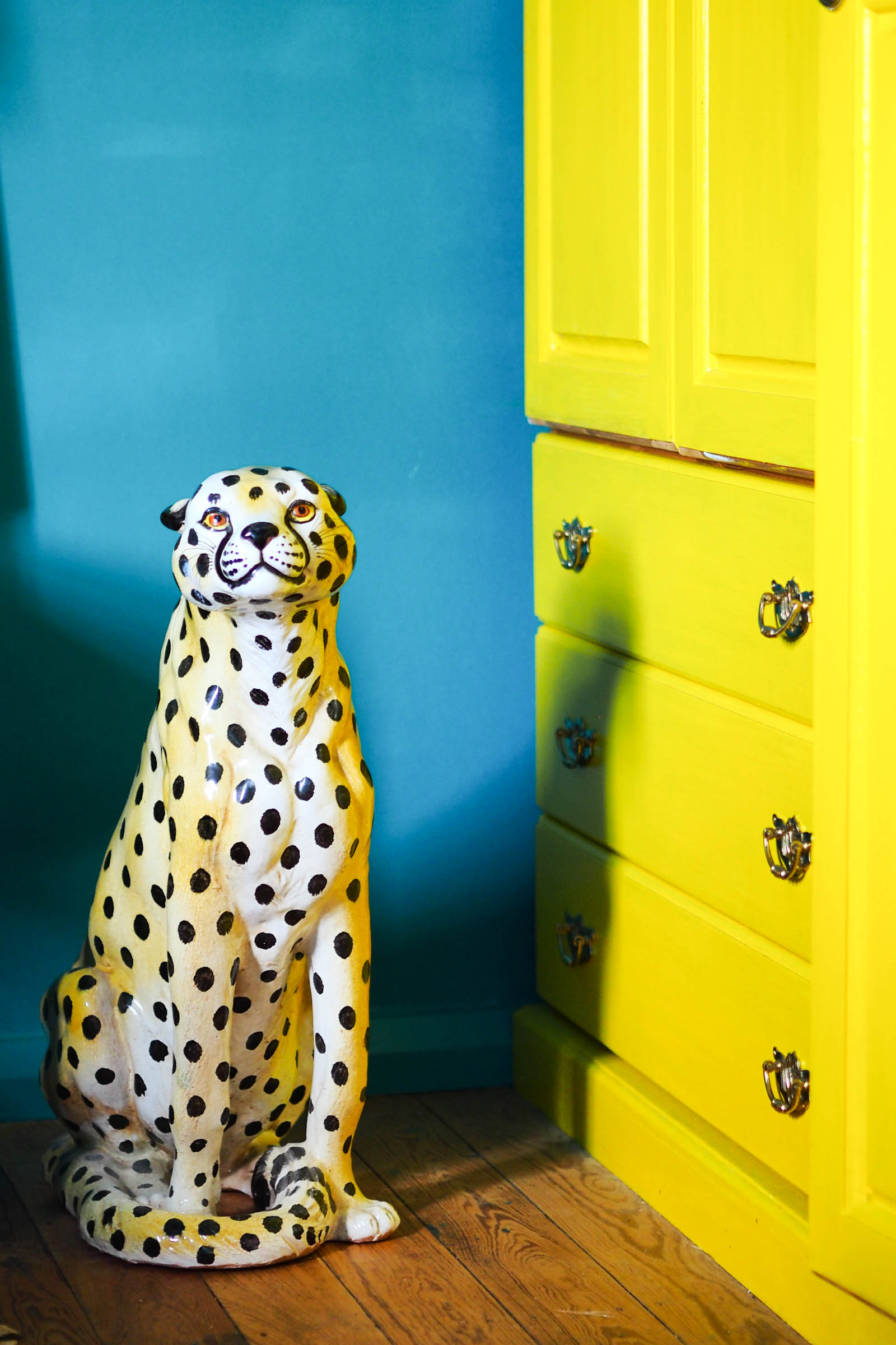 Amy's bright and eclectic home in Margate. Love those porcelain leopards!