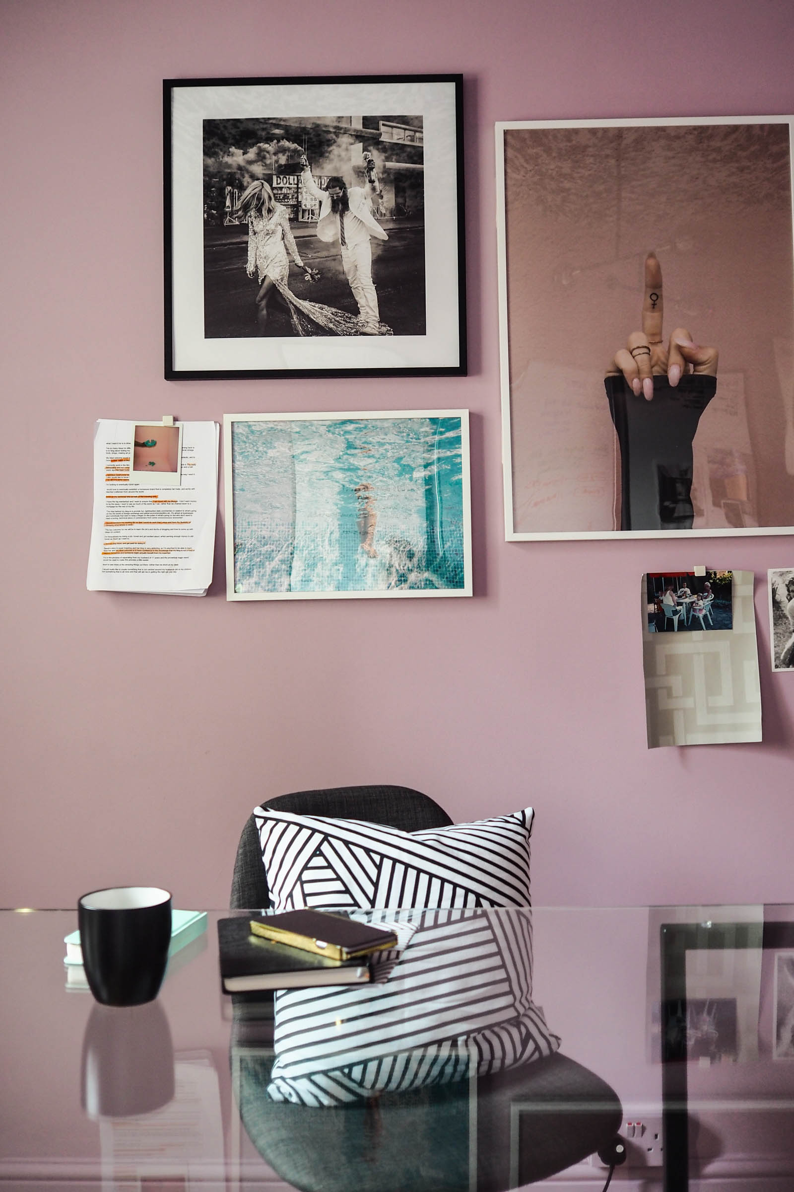 Blogger Sarah Akwisombe's lavender, black and brass room makeover might give you some cool office design ideas!