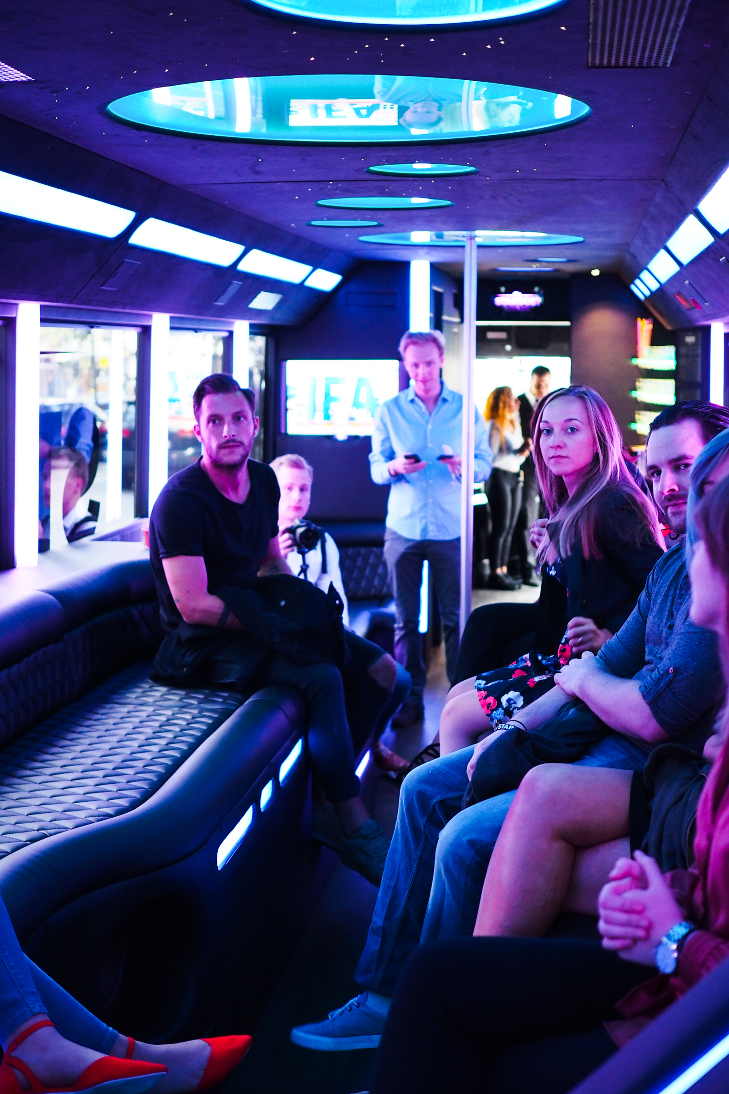 Please observe the general looks of fear as we all boarded the partybus, not knowing what was in store for us. Please also note stripper pole.