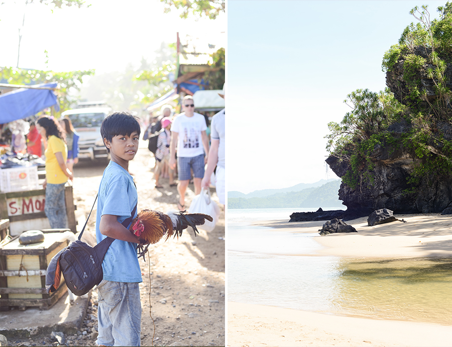 palawan philippines ocean rooster kid child