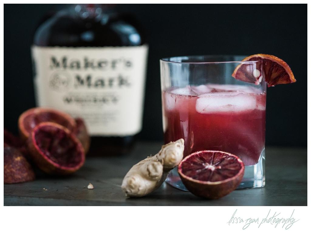 blood orange bourbon cocktail food photography lissa ryan photography