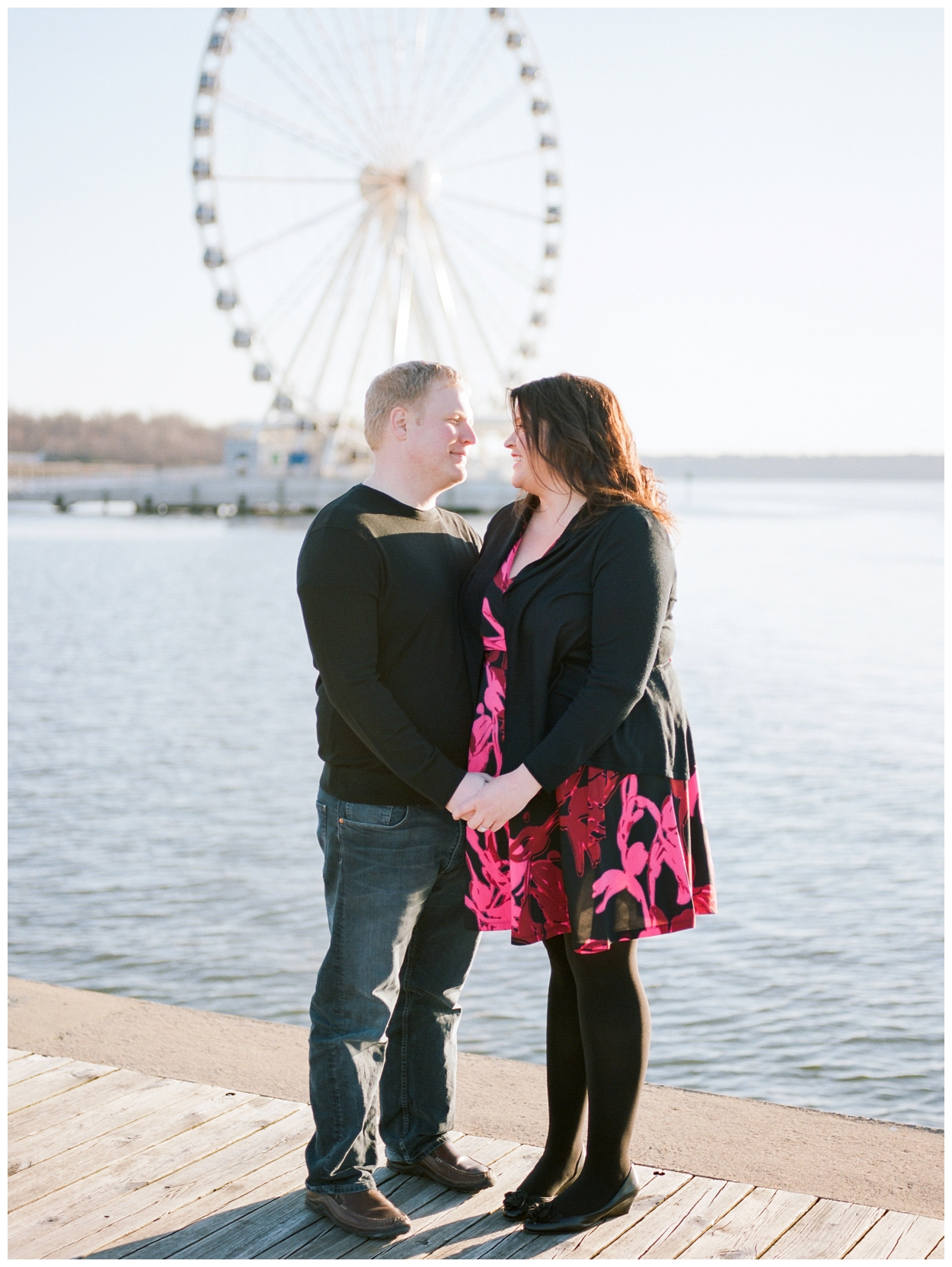 sunset spring engagement photos at National Harbor Maryland by fine art wedding photographer Lissa Ryan Photography