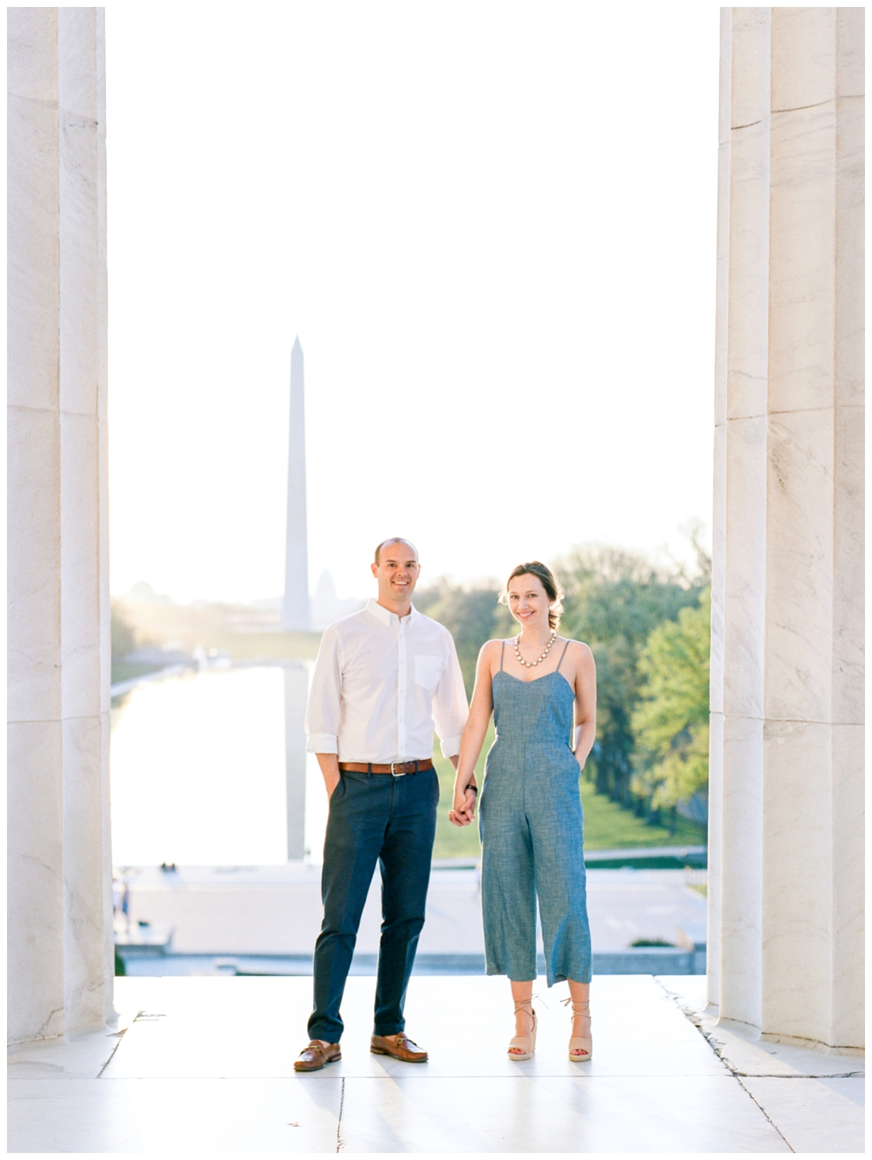 sunrise engagement session at the lincoln memorial in washington dc by fine art wedding photographer Lissa Ryan Photography