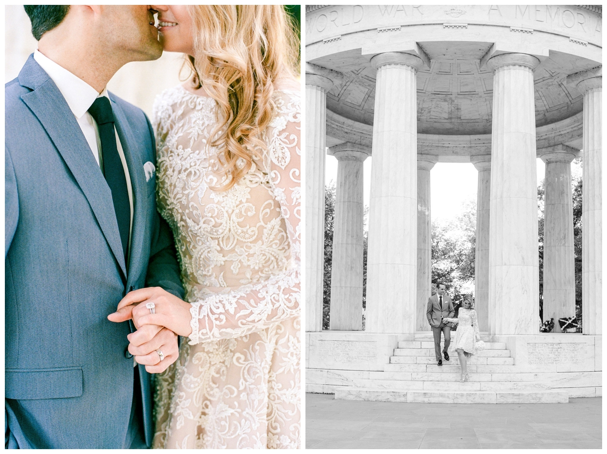 Chic summer elopement at the DC War Memorial in Washington DC by fine art wedding photographer Lissa Ryan Photography
