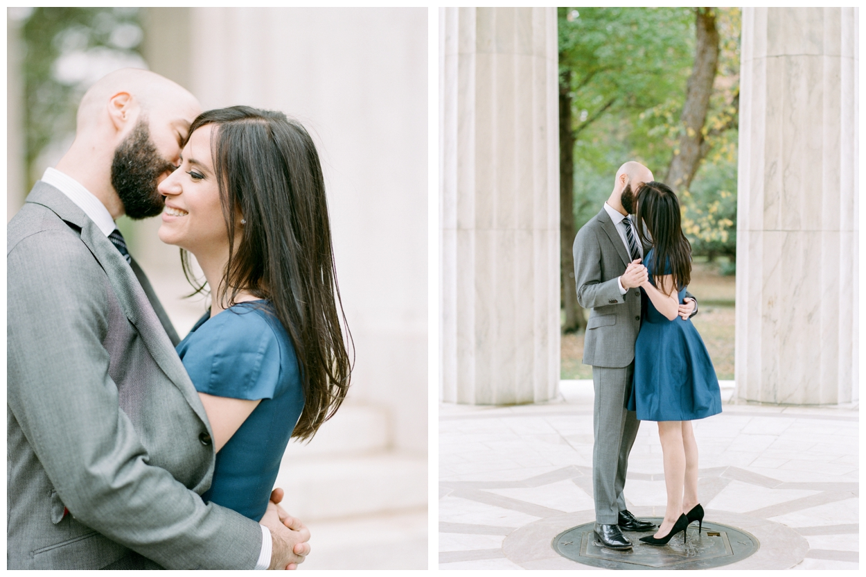 Elegant winter engagement session at DC War Memorial Washington DC by fine art wedding photographer Lissa Ryan Photography