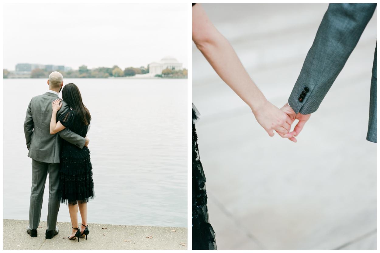 Elegant winter engagement session at the Jefferson Memorial Washington DC by fine art wedding photographer Lissa Ryan Photography