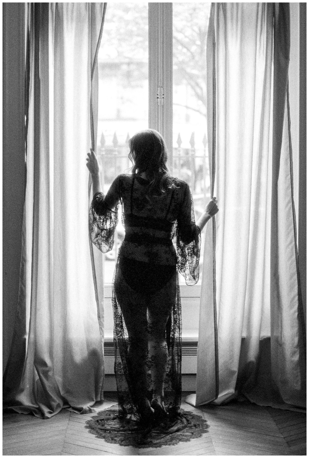 fine art boudoir session in Paris France on film by fine art wedding photographer Lissa Ryan Photography
