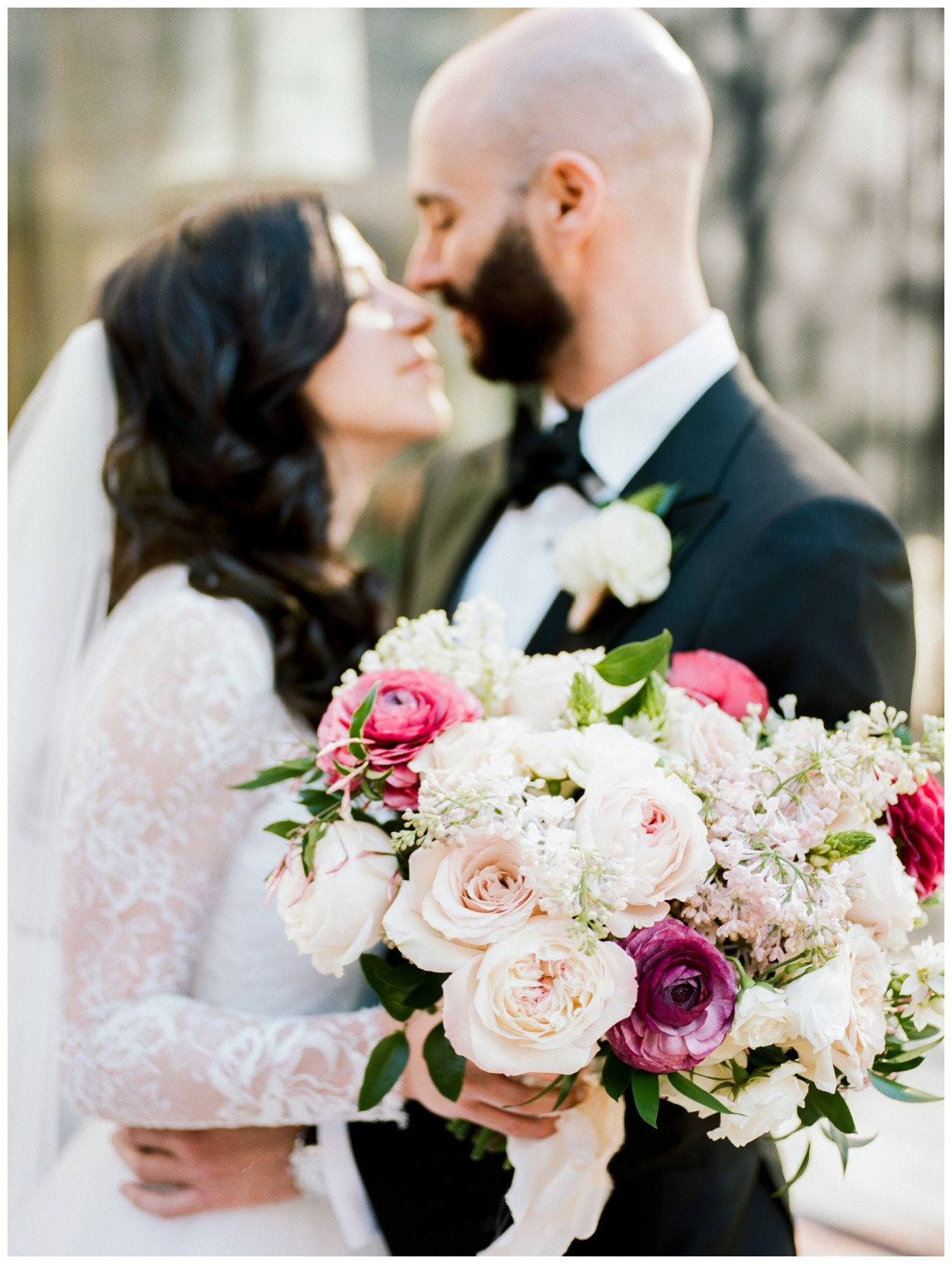 Spring Wedding in Shades of Pink at the Park Hyatt Washington DC by fine art wedding photographer Lissa ryan Photography kiss with Sweet Root Village bouquet