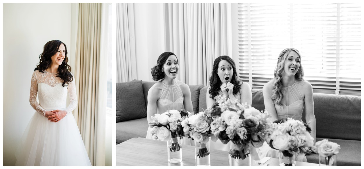 Spring Wedding in Shades of Pink at the Park Hyatt Washington DC by fine art wedding photographer Lissa Ryan Photography bride getting ready and bridesmaids' reaction