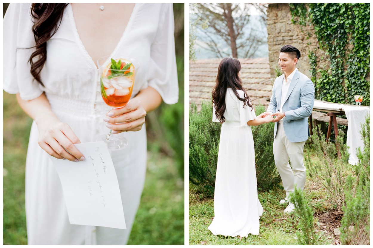Spring Engagement at Villa Montanare in Cortona Tuscany, Italy by fine art wedding photographer Lissa Ryan Photography kiss with aperol spritz
