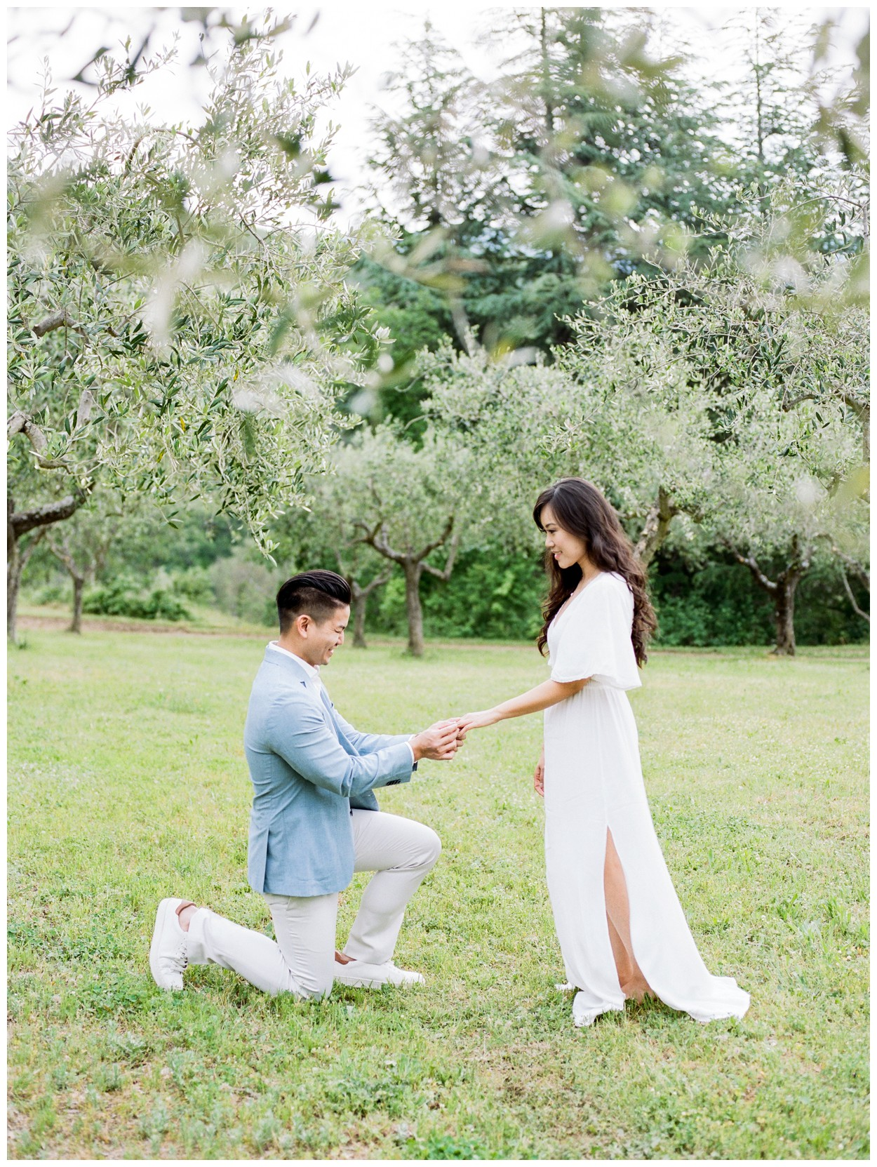 Spring Engagement at Villa Montanare in Cortona Tuscany, Italy by fine art wedding photographer Lissa Ryan Photography proposal in an olive grove