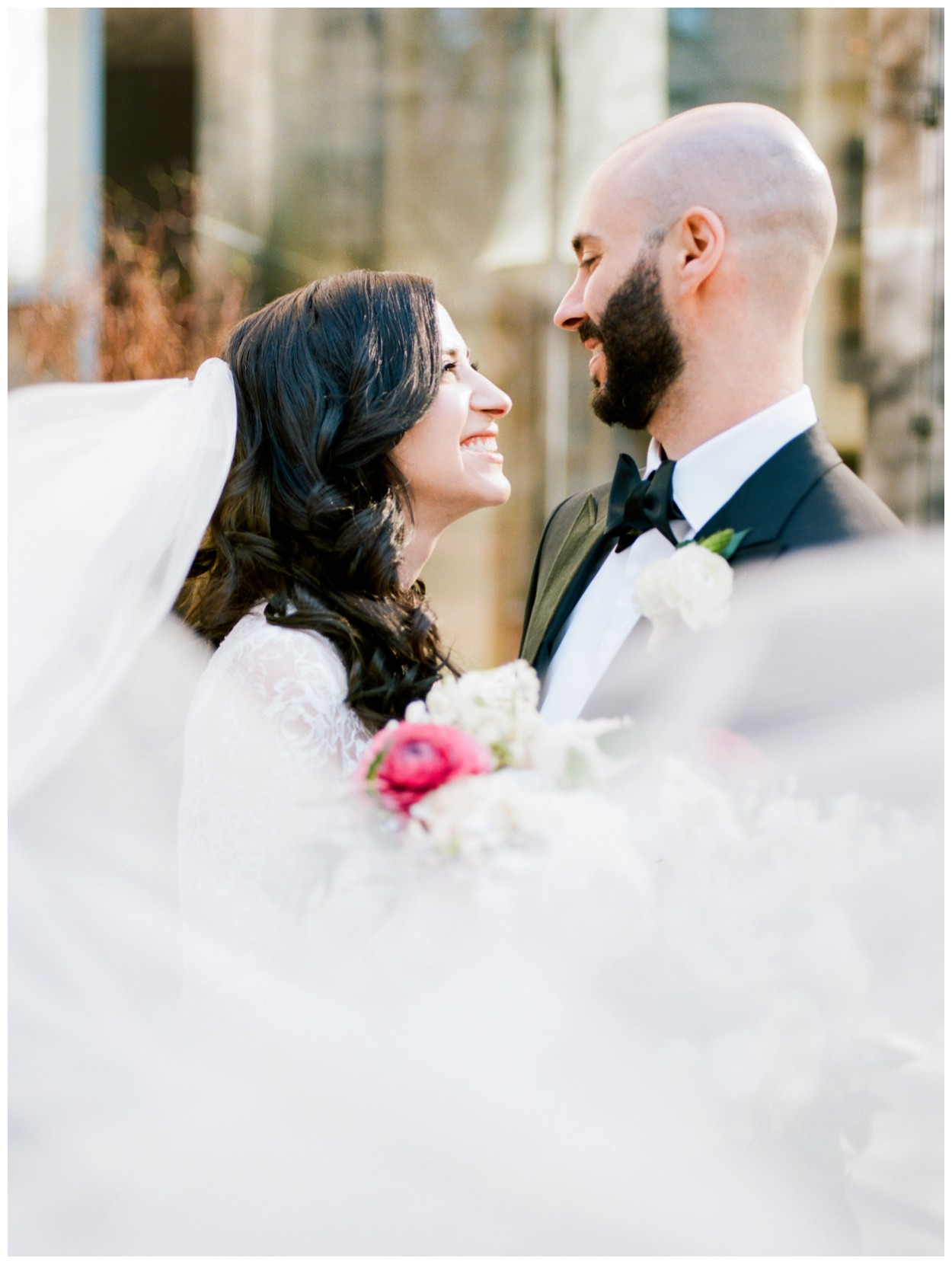 Spring Wedding in Shades of Pink at the Park Hyatt Washington DC by fine art wedding photographer Lissa Ryan Photography bride and groom first look with veil