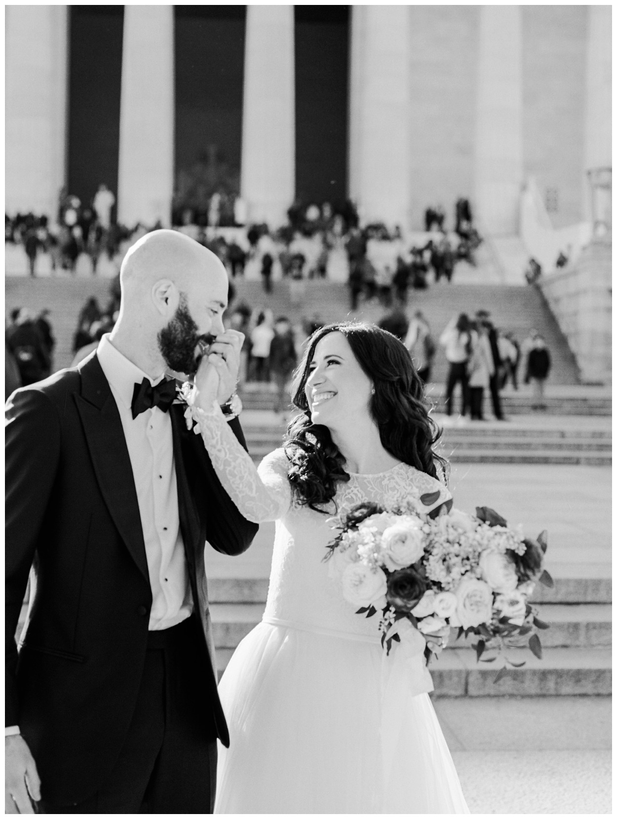 Spring Wedding in Shades of Pink at the Park Hyatt Washington DC by fine art wedding photographer Lissa Ryan Photography bride and groom portrait with Lincoln Memorial