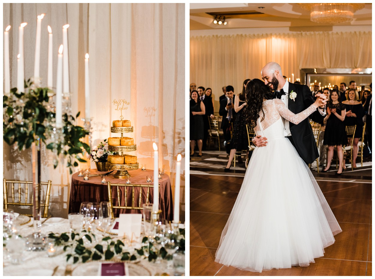 Spring Wedding in Shades of Pink at the Park Hyatt Washington DC by fine art wedding photographer Lissa Ryan Photography candlelit ballroom reception with lace linens bride and groom first dance