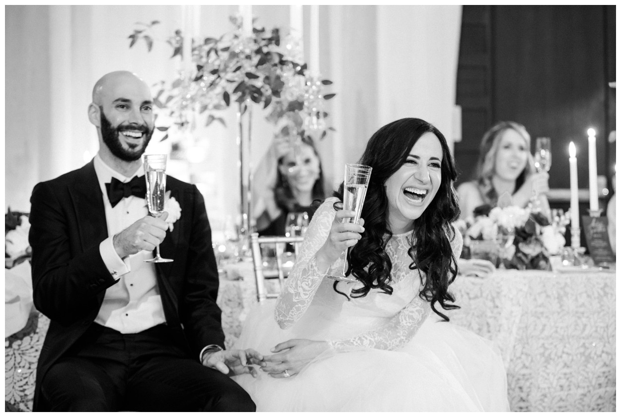 Spring Wedding in Shades of Pink at the Park Hyatt Washington DC by fine art wedding photographer Lissa Ryan Photography bride and groom laughing at toast