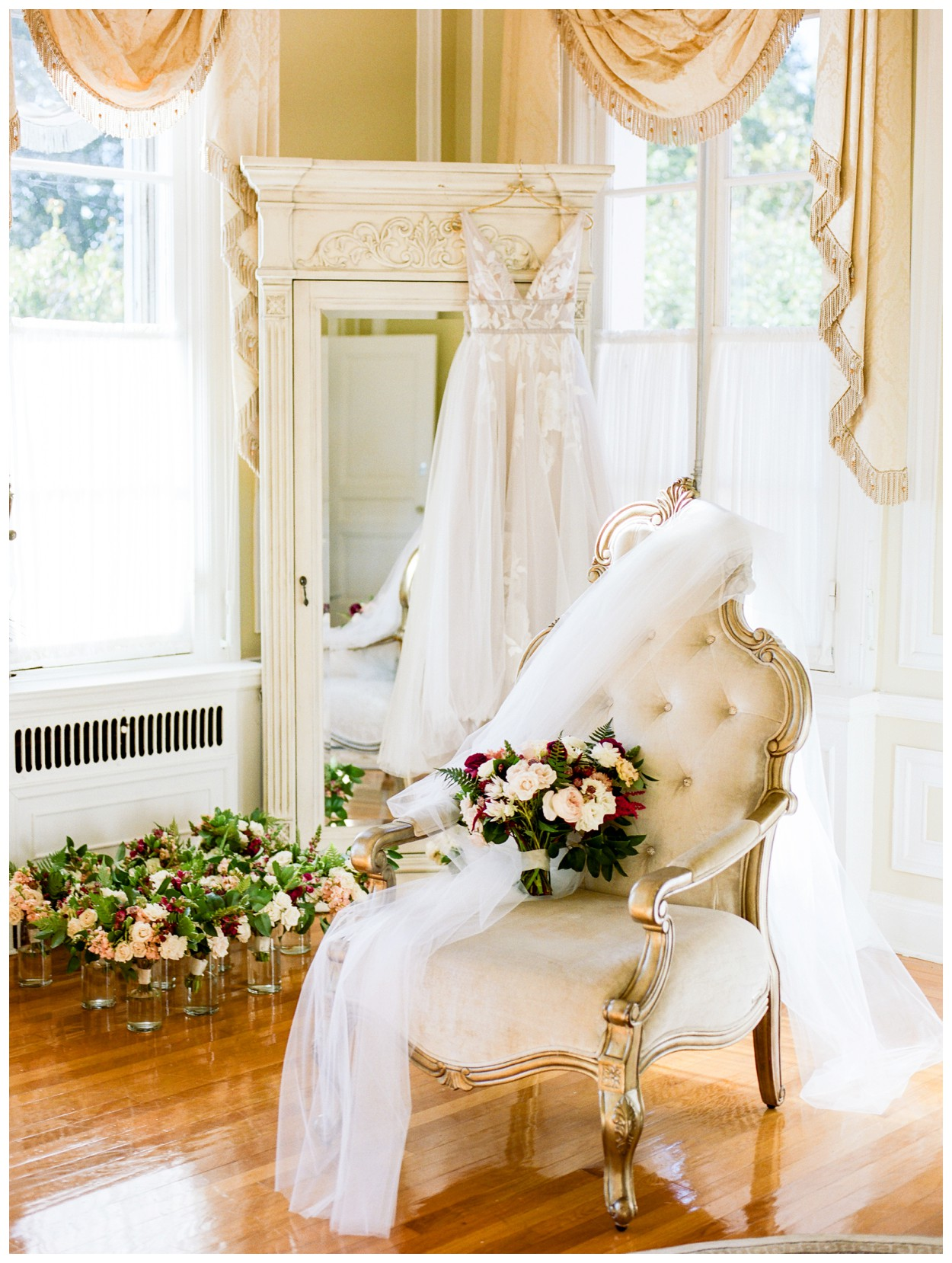 Sun drenched fall wedding in shades of pink at Oxon Hill Manor in Maryland beautiful bridal suite by fine art wedding photographer Lissa Ryan Photography