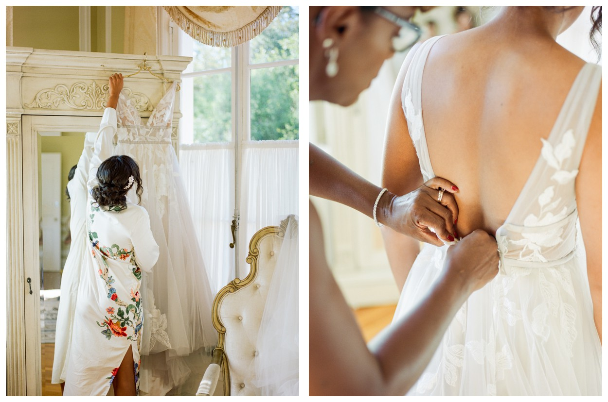 Sun drenched fall wedding in shades of pink at Oxon Hill Manor in Maryland beautiful bridal suite and bride getting ready by fine art wedding photographer Lissa Ryan Photography