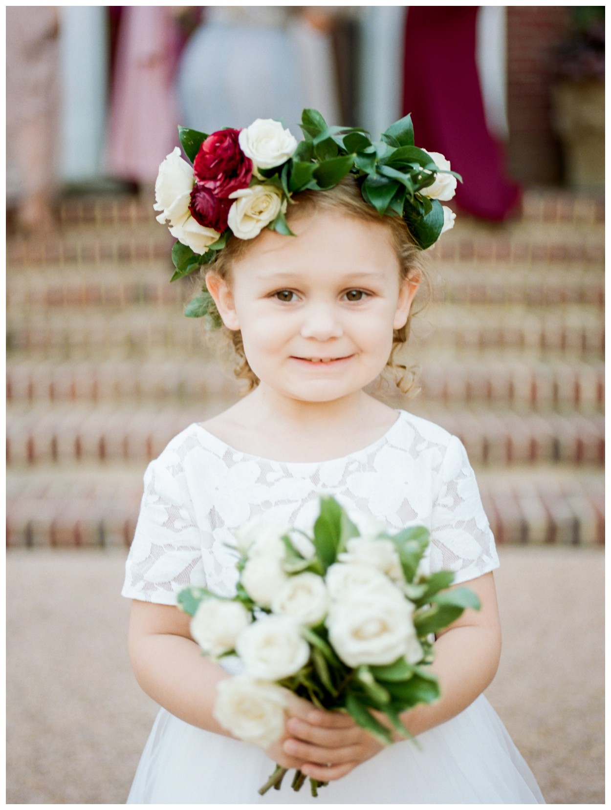 Sun drenched fall wedding in shades of pink at Oxon Hill Manor in Maryland adorable flower girl by fine art wedding photographer Lissa Ryan Photography