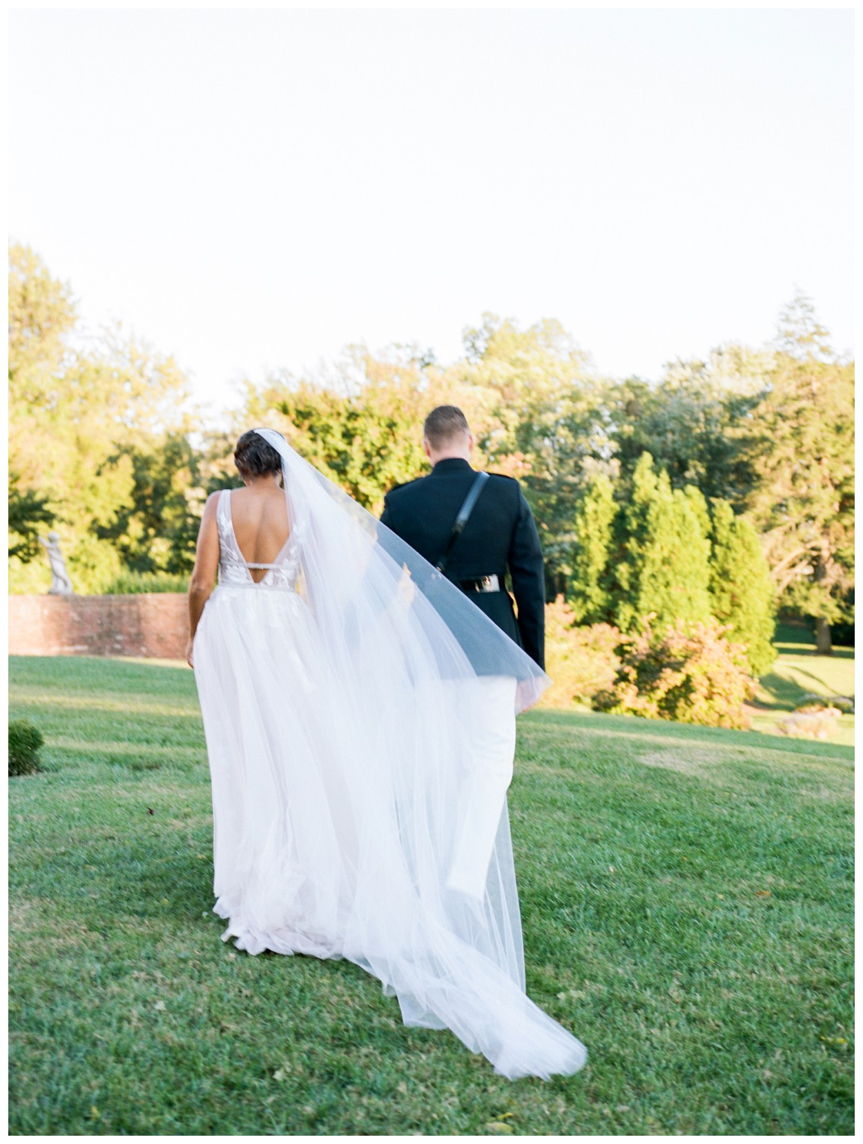 Sun drenched fall wedding in shades of pink at Oxon Hill Manor in Maryland sunset bride and groom portraits by Washington DC fine art photographer Lissa Ryan Photography