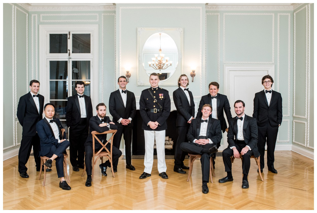 Sun drenched fall wedding in shades of pink at Oxon Hill Manor in Maryland groomsmen portrait by Washington DC fine art photographer Lissa Ryan Photography