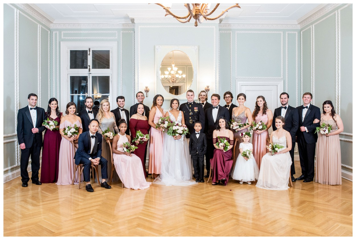 Sun drenched fall wedding in shades of pink at Oxon Hill Manor in Maryland wedding party portraits by Washington DC fine art photographer Lissa Ryan Photography