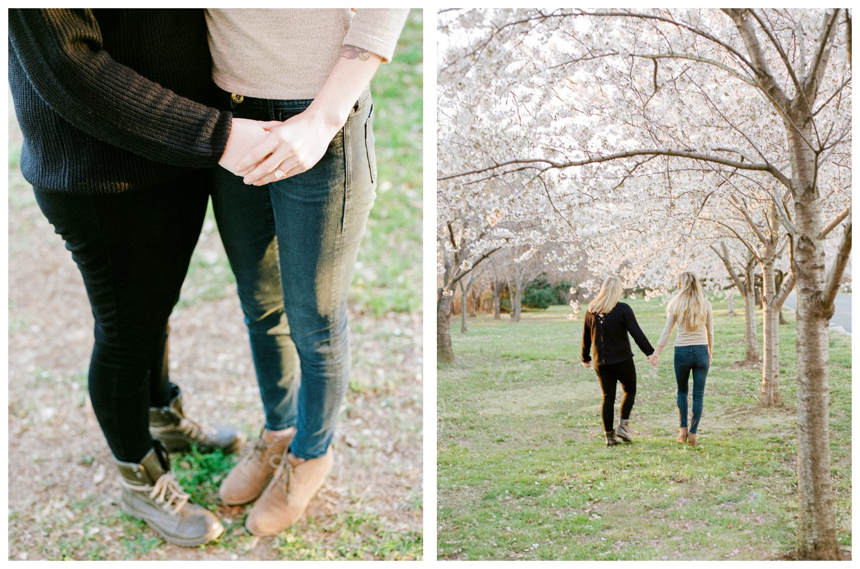 Sunrise same-sex engagement session with cherry blossoms in Washington DC by fine art wedding photographer Lissa Ryan Photography