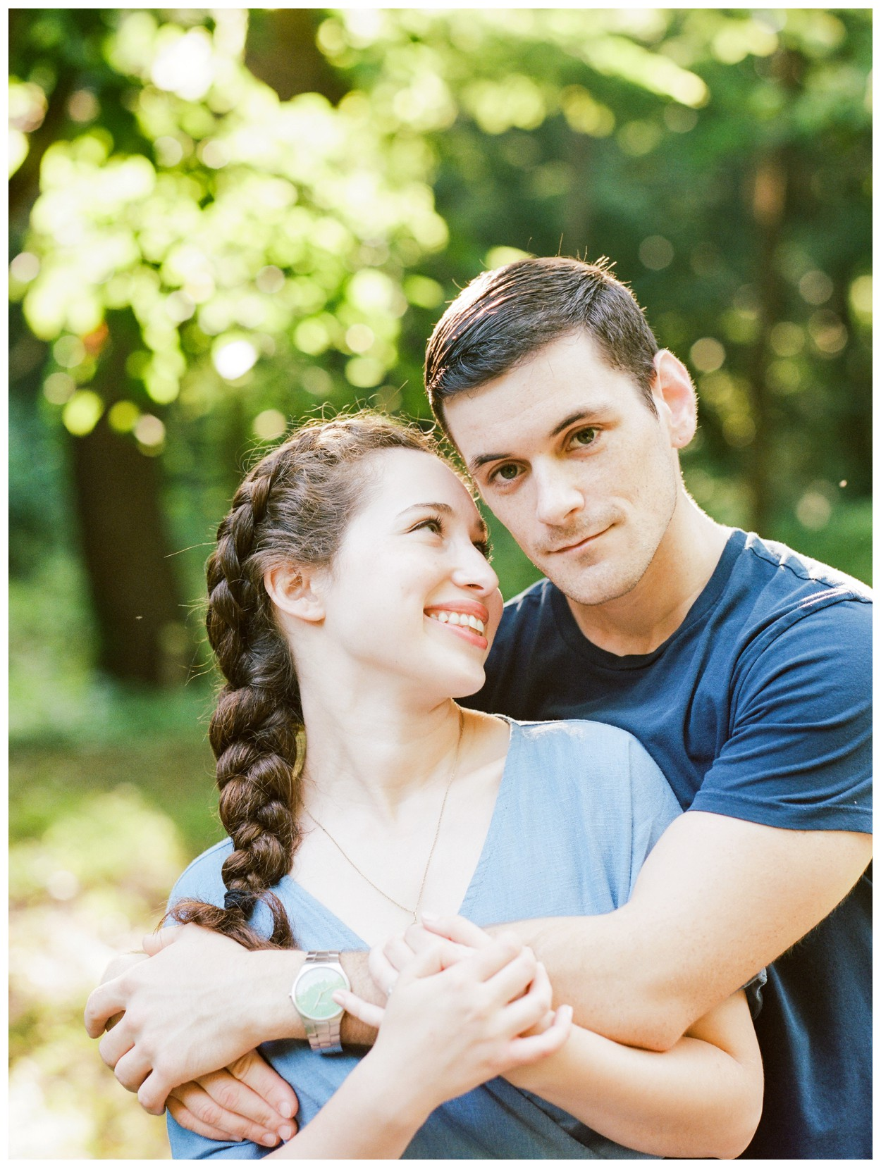 Summer engagement session in the Virginia woods with a dog by fine art wedding photographer Lissa Ryan Photography