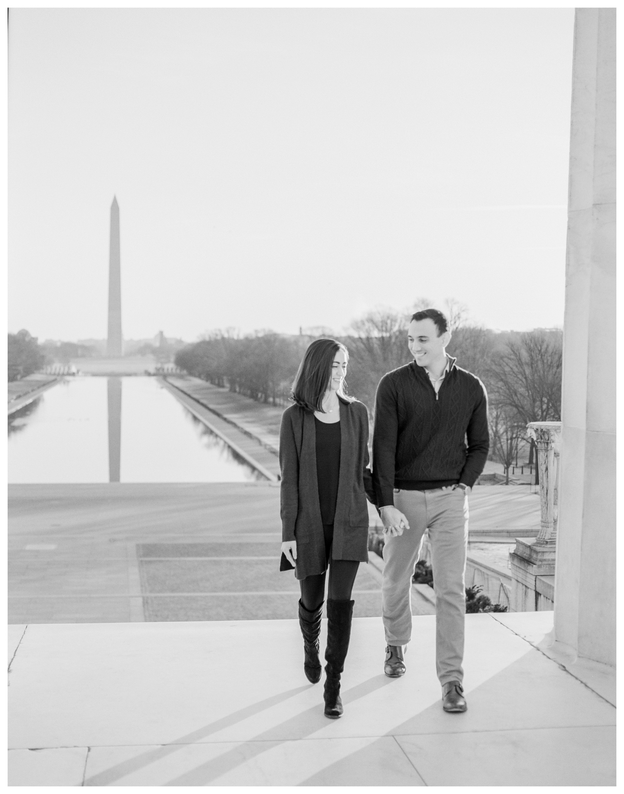 Winter DC Engagement Session at the Lincoln Memorial and the Library of Congress by fine art wedding photographer Lissa Ryan Photography in Washington DC