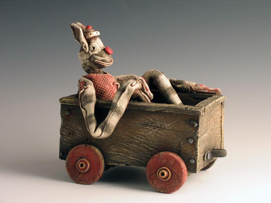 """Guy in a Cart #1 / 7""""H x 8""""W x 4.5""""D / 2008"""
