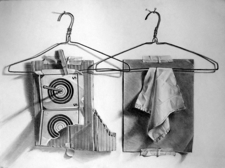 """Two Hangers , 22""""H x 30""""W / 1995"""